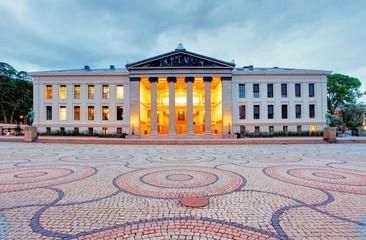 University of Oslo, Norway at night
