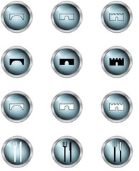 set of icon vector in buttons