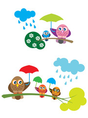 Owl family in the rain, with umbrellas.Cartoon ilustrations for