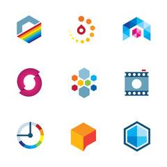 Artist design community logo industry visual icon set