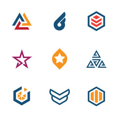 The game of star business company logo icon set