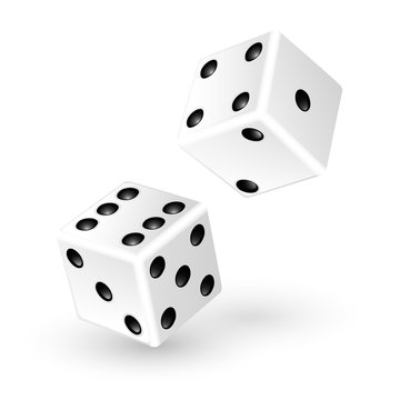 Two white dice isolated on white background