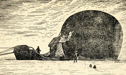 Andrée and Frænkel with crashed balloon (Strindberg, 1897)