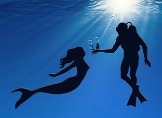 Sirena y buzo, ilustración, San Valentín