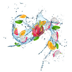 Wall Murals Splashing water Fresh Fruit with water splash