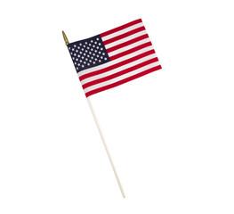 Single American Flag on White Background