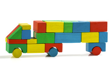 freight truck toy blocks, multicolor car wooden transportation
