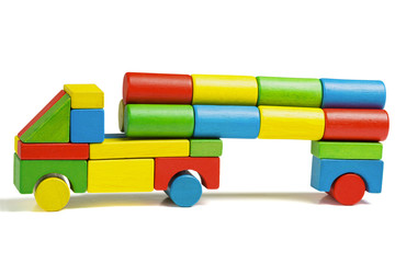 toy car, multicolor truck wooden blocks transportation cargo