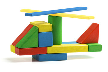 toy helicopter, multicolor wooden blocks air transport