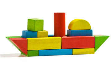toy ship wooden blocks, shipping multicolor freight