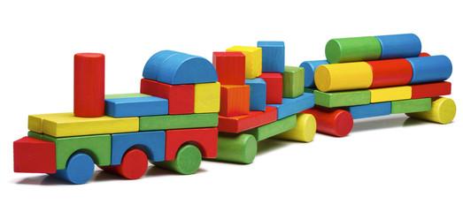 toy train goods van, wooden blocks cargo railway transportation