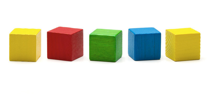 toy blocks, multicolor wooden game cube, blank boxes isolated
