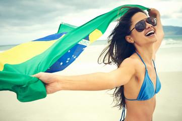 BRasil flag woman fan