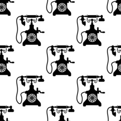 Vintage telephone seamless pattern