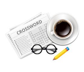 Vector Crossword, Glasses, Cup of Coffee