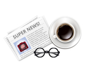 Color Newspaper, Glasses, Cup of Coffee