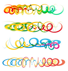 Colorful abstract curly ribbon headers
