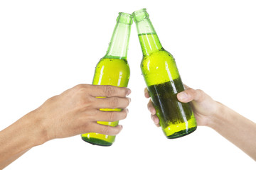 Hands toasting with beer isolated