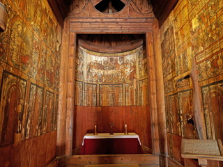 Inside Gol Stave Church (Norwegian: Gol stavkirke)