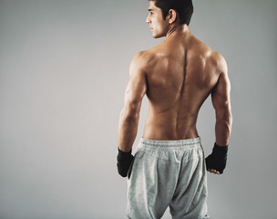 Muscular young male boxer standing on grey background