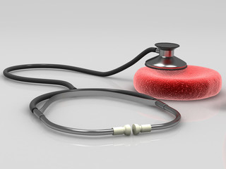 Blood cell with medical stethoscope