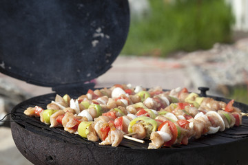 barbecue with skewers of chicken meat with vegetables