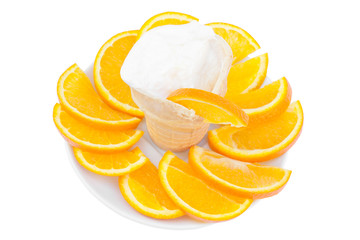 ice-cream in a glass with sliced orange