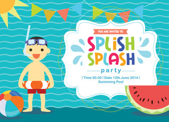 Birthday Card Invitation Summer Fun Splash Layered