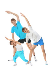 exercising with two boys