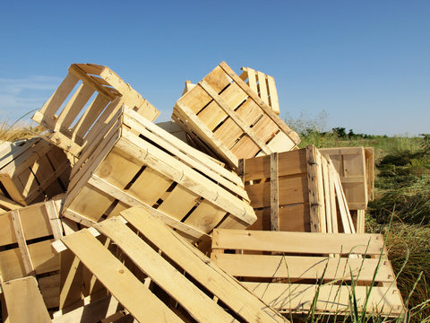 Empty wooden crates stacked