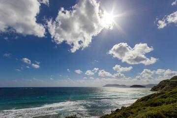 gerakas beach with clouds and sun