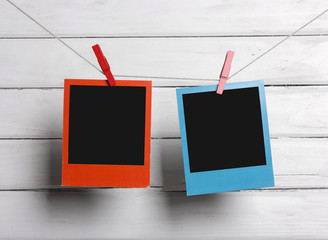 Color photos on clothesline