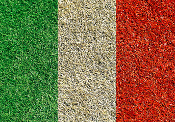 Aufkleber - Italy, the flag on the texture of the gras