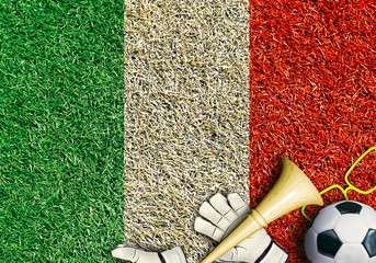 Poster - Italy, the flag on the texture of the grass