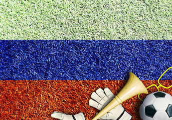 Fototapete - Russia, the flag on the texture of the grass