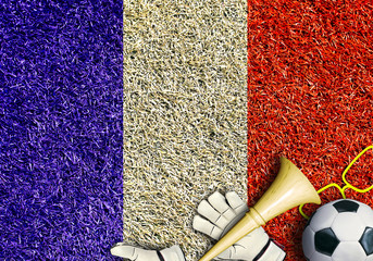 Poster - France, the flag on the texture of the grass