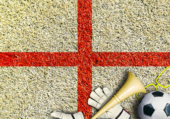 Aufkleber - England, the flag on the texture of the grass