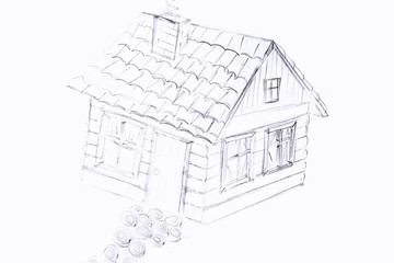Kids drawing of house on table, close up