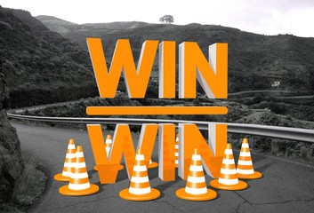win win symbol on a road