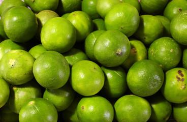 close up many asian lemon in market