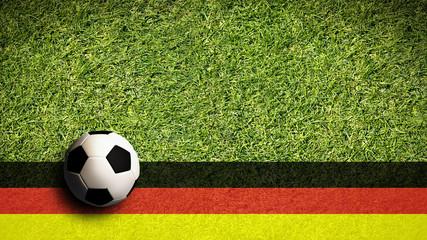 Fußball mit Deutschlandflagge in 16:9 Format