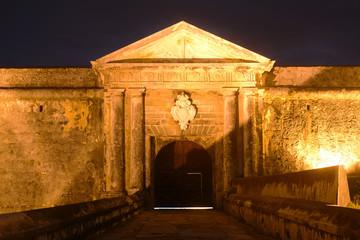 Castillo San Felipe del Morro Main Gate at night, San Juan