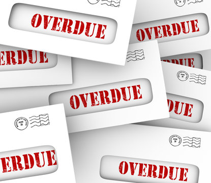 Overdue Bills Pile Envelopes Late Payment Penalty Fees