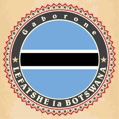 Vintage label cards of  Botswana flag.
