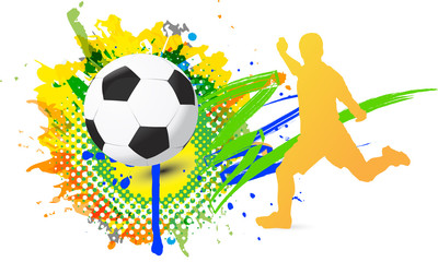 soccer player is kicking the ball with splash color vector