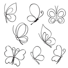 Set of hand drawn butterflies