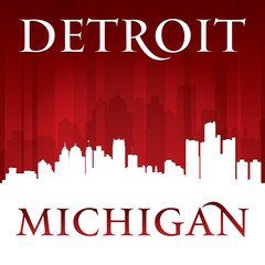 Detroit Michigan city skyline silhouette red background