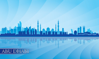 Abu Dhabi city skyline silhouette background