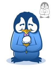 Penguin eating Ice Cream