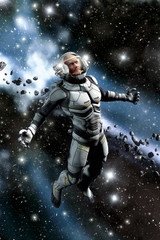 Wall Mural - Astronaut and asteroid field